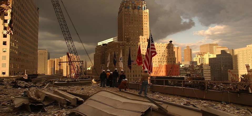 firefighters at collapsed WTC ground zero